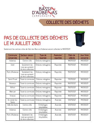 Collecte des déchets le 14 juillet