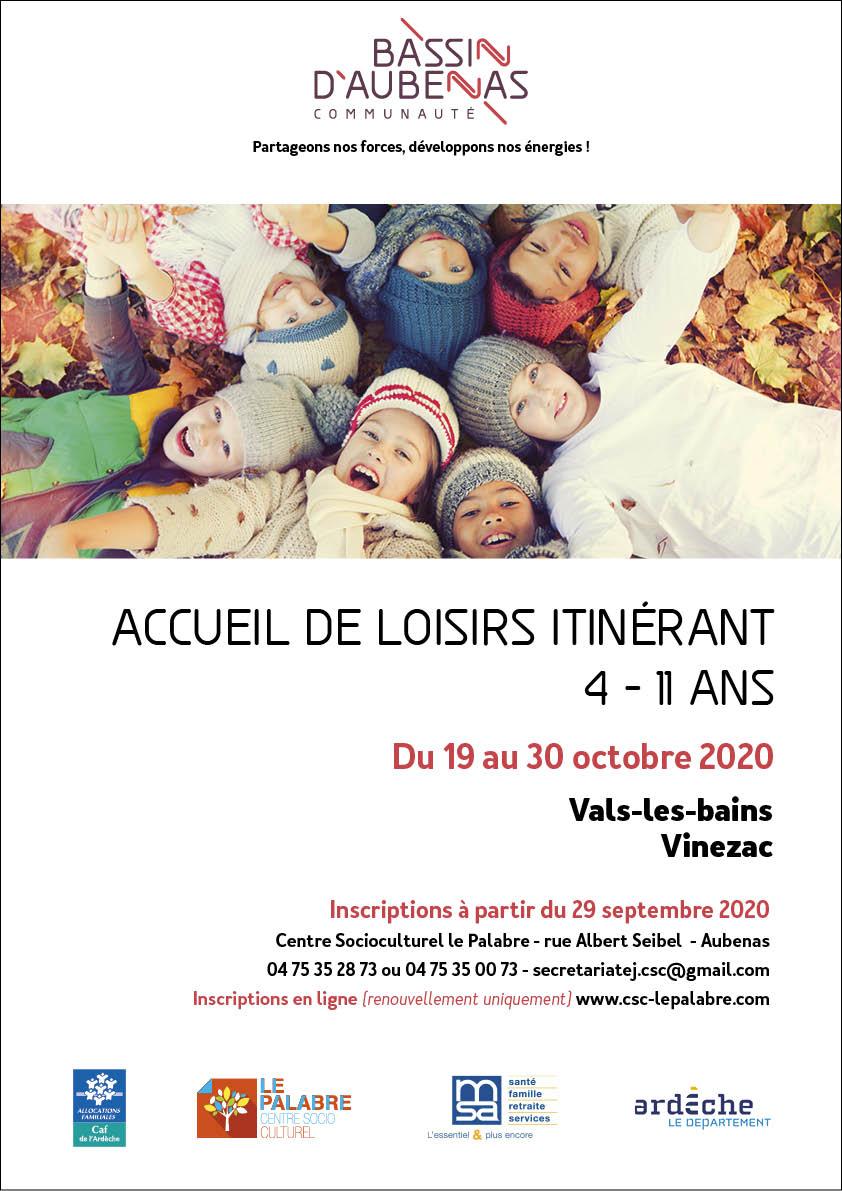 Affiche de l'ALSH d'octobre 2020 pour les 4-11 ans du 19 octobre 2020 à Vals-les-Bains ou Vinezac. Inscription à partir du 29 septembre au 04 75 35 28 73 ou 04 75 35 00 73.2020
