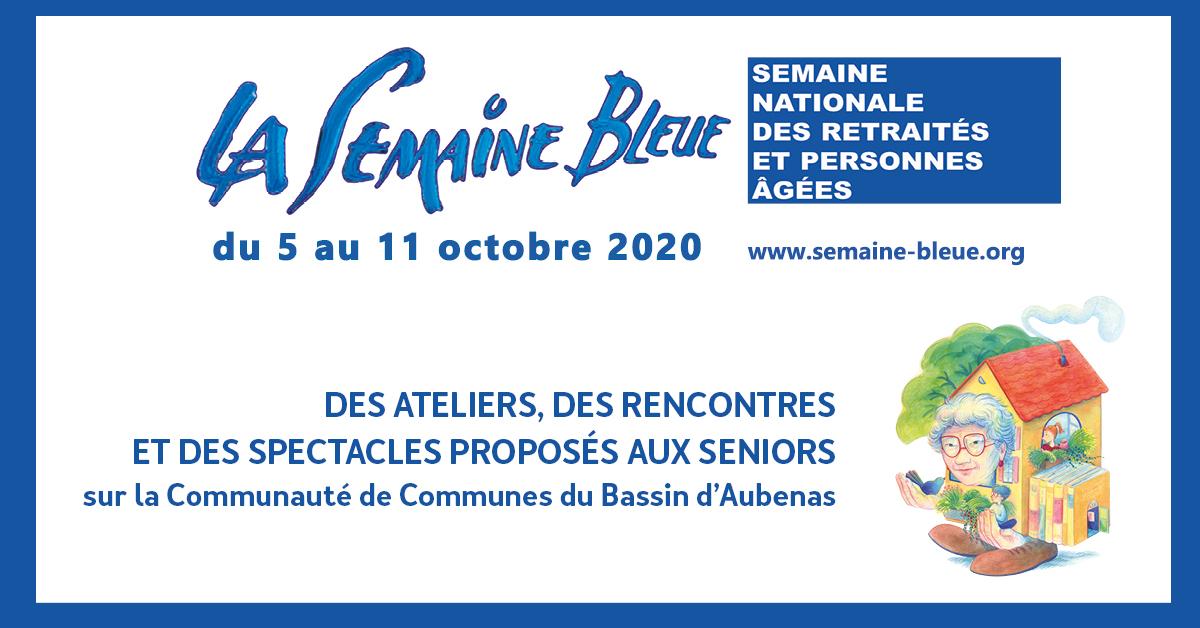 Visuel de la Semaine Bleue annonçant des ateliers, des rencontres et des spectacles proposés aux seniors sur la communauté de communes