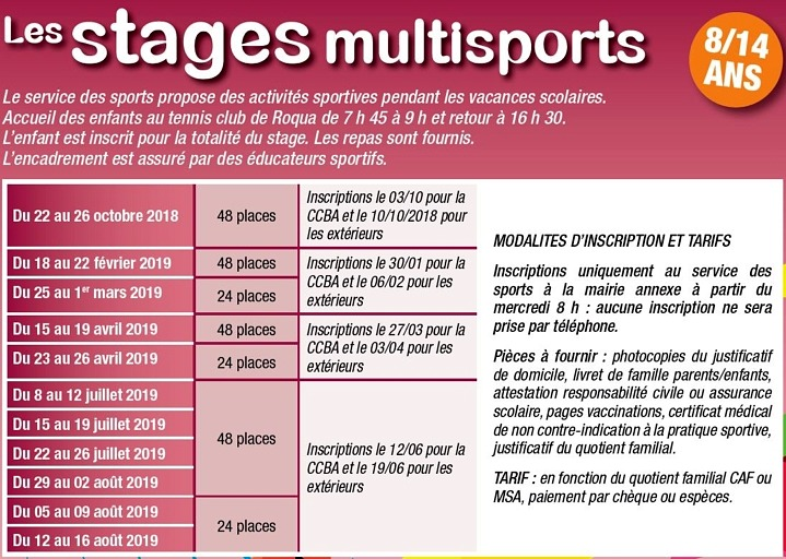 Programme des stages multisports